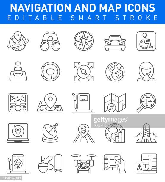 navigation and map icons - local landmark stock illustrations