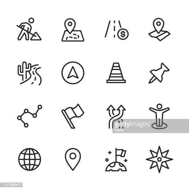 ナビゲーションとマップ-アウトラインアイコンセット - 円形方位図点のイラスト素材/クリップアート素材/マンガ素材/アイコン素材