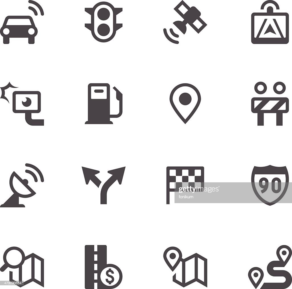 GPS Navigation and Road Icons : Vectorkunst