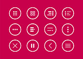 Navigation button. Hamburger menu icons set. Collections mobile buttons menu for apps and web ui. Vector illustration