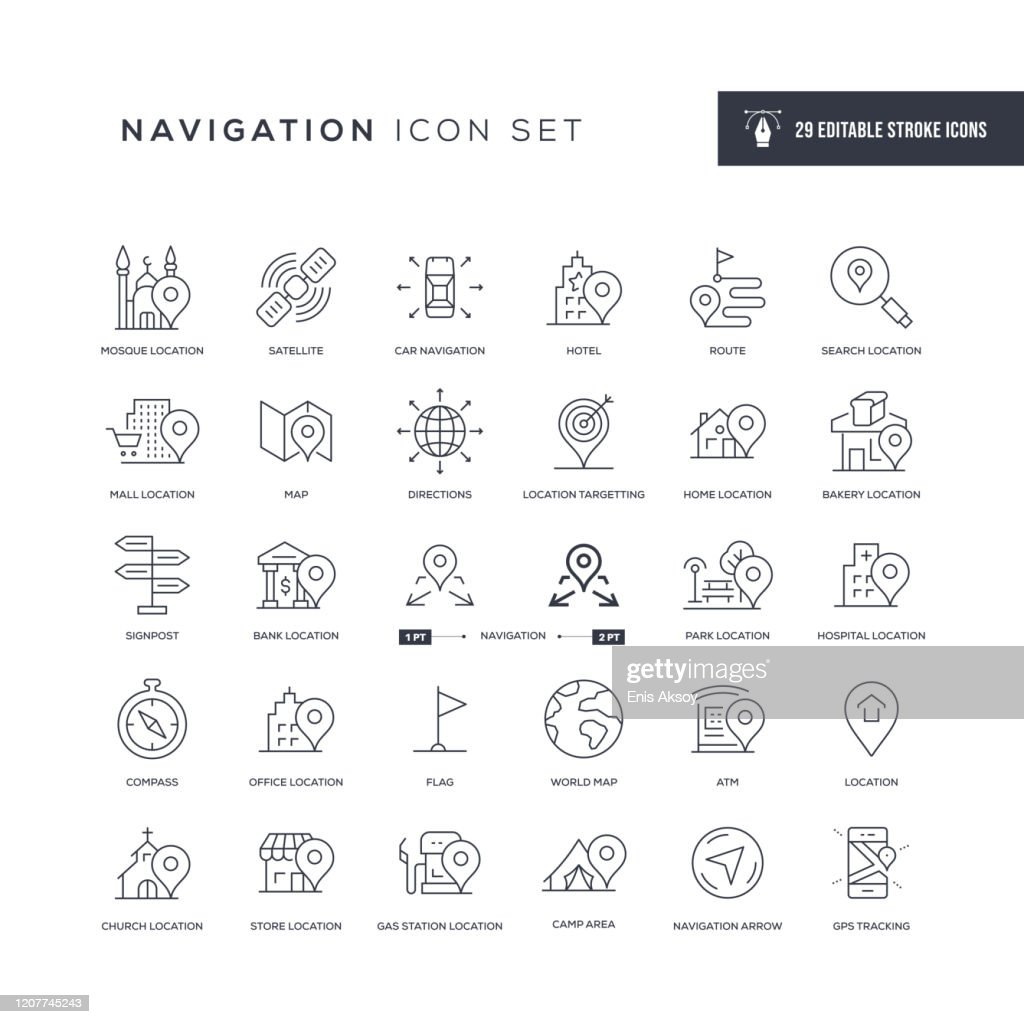 Navigation Editable Stroke Line Icons : stock illustration