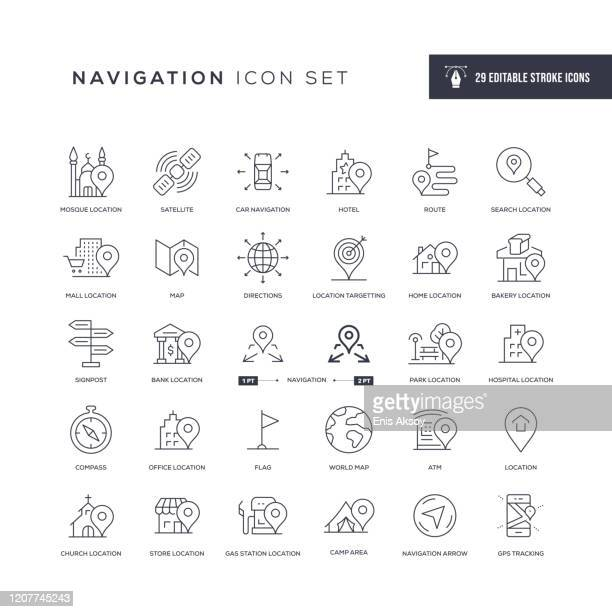 navigation editable stroke line icons - tourist attraction stock illustrations