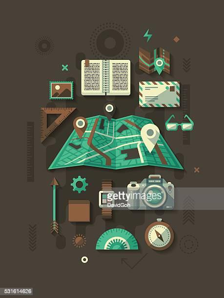 navigation flat design concept - coordination stock illustrations, clip art, cartoons, & icons