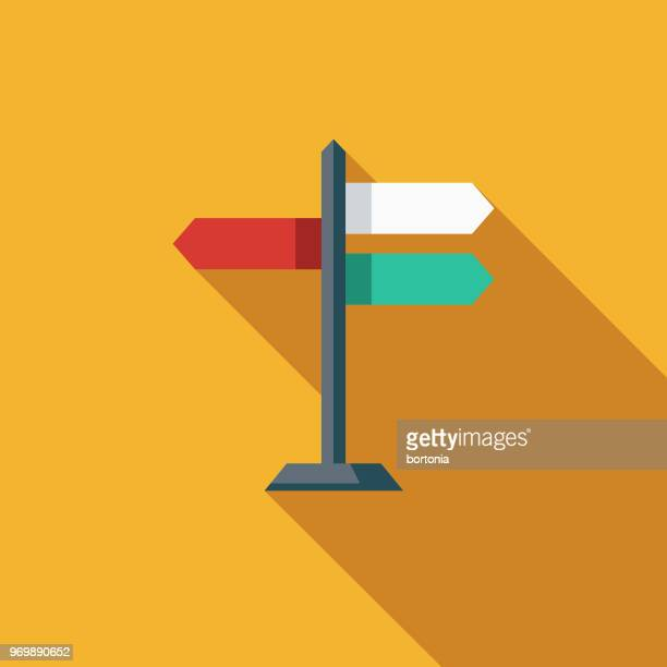 navigation flat design seo icon - directional sign stock illustrations