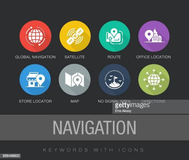 ilustrações, clipart, desenhos animados e ícones de conjunto de ícones plana de navegação - símbolo ortográfico
