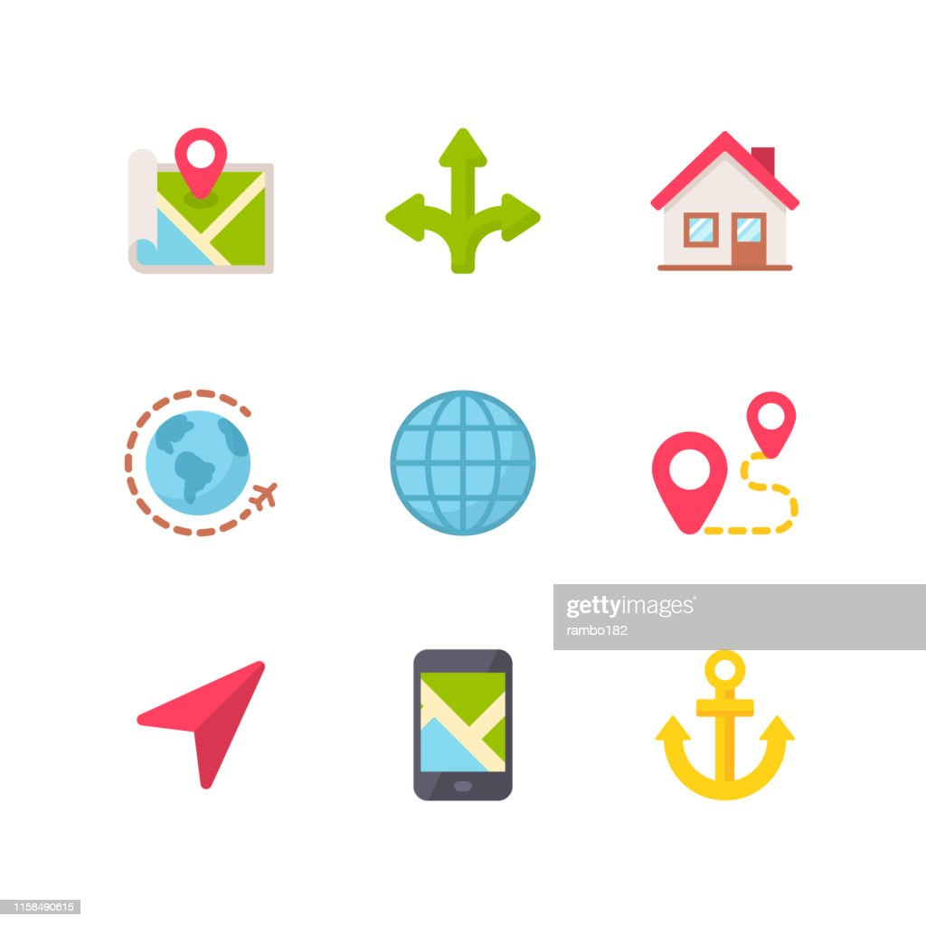 Navigation Flat Icons. Pixel Perfect. For Mobile and Web. Contains such icons as Navigation, Map, Location, GPS, Travel, Pointer Stick, Cartography. : Stock Illustration