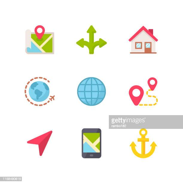 navigation flat icons. pixel perfect. for mobile and web. contains such icons as navigation, map, location, gps, travel, pointer stick, cartography. - locator map stock illustrations