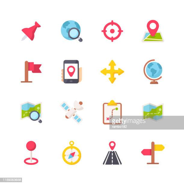 ilustrações de stock, clip art, desenhos animados e ícones de navigation flat icons. pixel perfect. for mobile and web. contains such icons as navigation, map, location, gps, travel, pointer stick, cartography, road, compass. - colocar