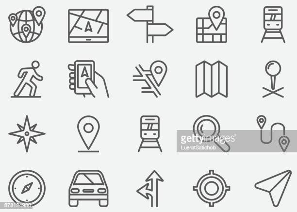 navigation gps line icons - thoroughfare stock illustrations, clip art, cartoons, & icons