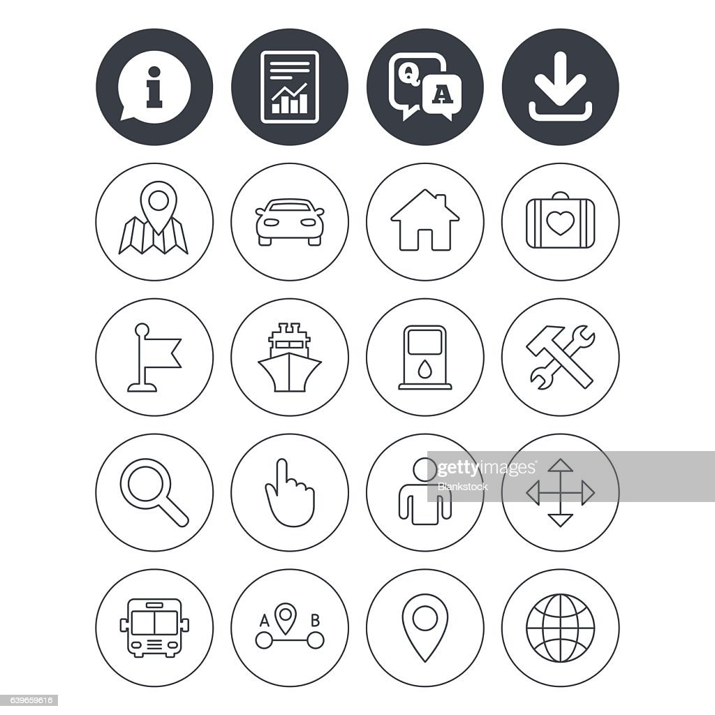 GPS navigation icon. Car, Bus and Ship transport.