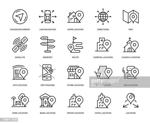 navigation icon set - shopping mall stock illustrations
