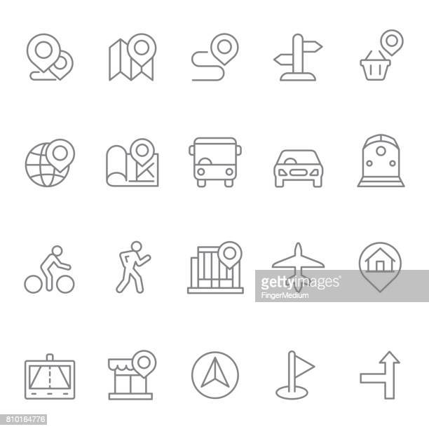 navigation icon set - pedestrian stock illustrations, clip art, cartoons, & icons