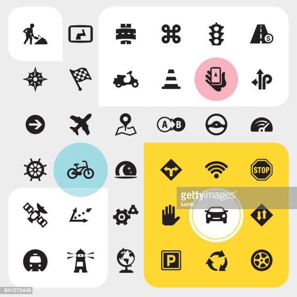 navigation icon set - distant stock illustrations