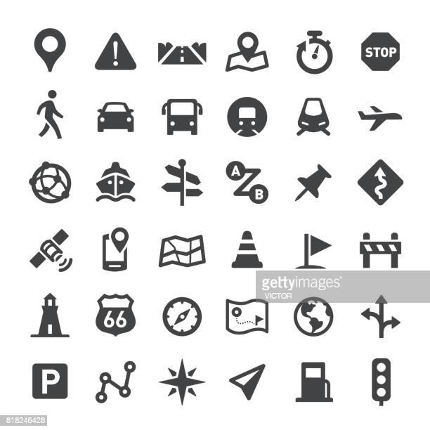 navigation icons - big series - stoplight stock illustrations