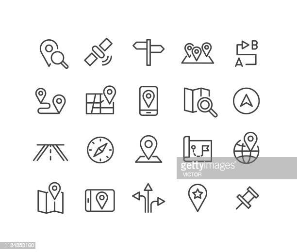 navigation icons - classic line series - direction stock illustrations