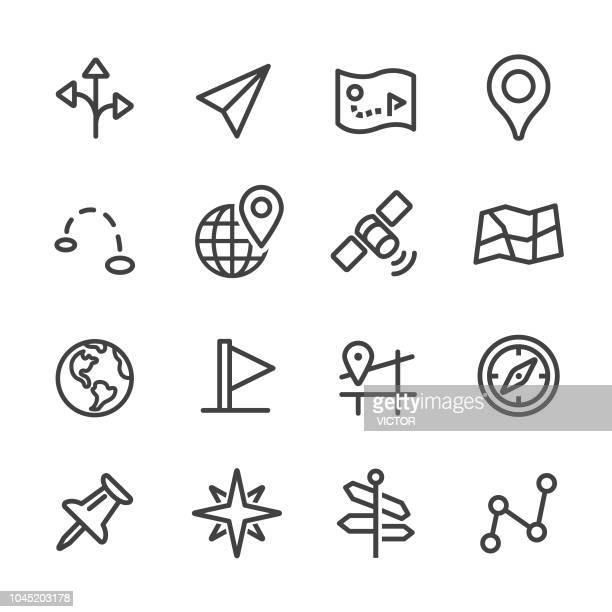navigation icons - line series - reveal stock illustrations, clip art, cartoons, & icons