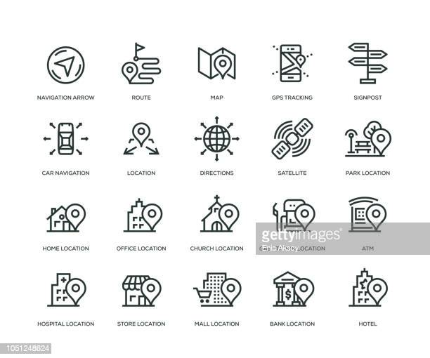 navigation icons - line series - famous place stock illustrations