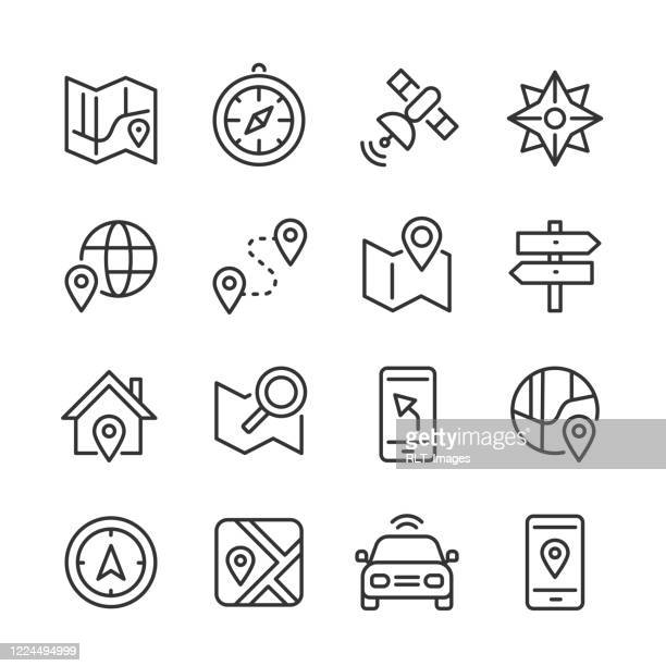 navigation icons — monoline series - direction stock illustrations