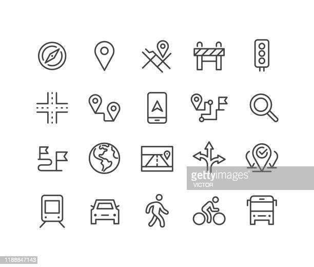 ナビゲーションアイコンセット - クラシックラインシリーズ - バリケード点のイラスト素材/クリップアート素材/マンガ素材/アイコン素材