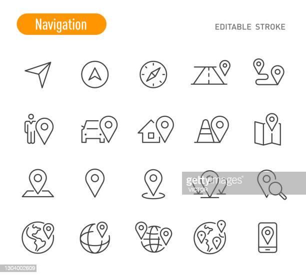 ilustrações, clipart, desenhos animados e ícones de conjunto de ícones de navegação - série de linhas - traçado editável - famous place