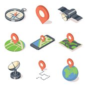 GPS navigation icons set