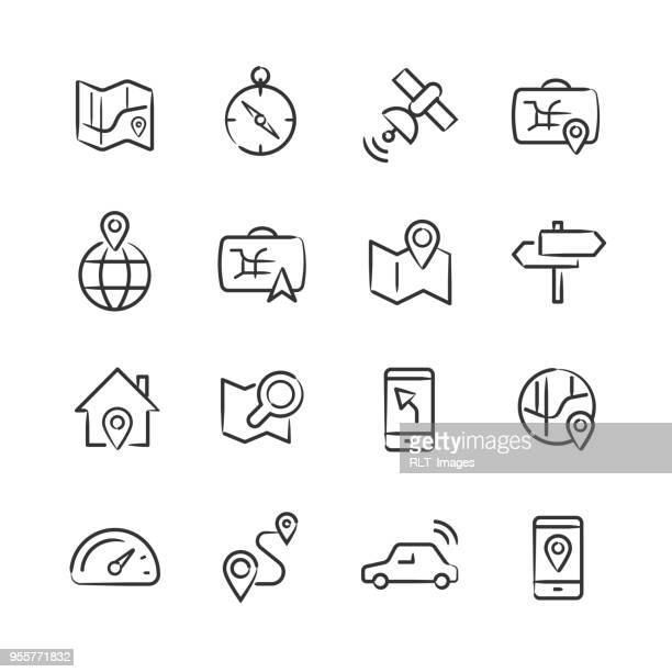 ilustrações, clipart, desenhos animados e ícones de ícones de navegação — série esboçado - parte de uma série