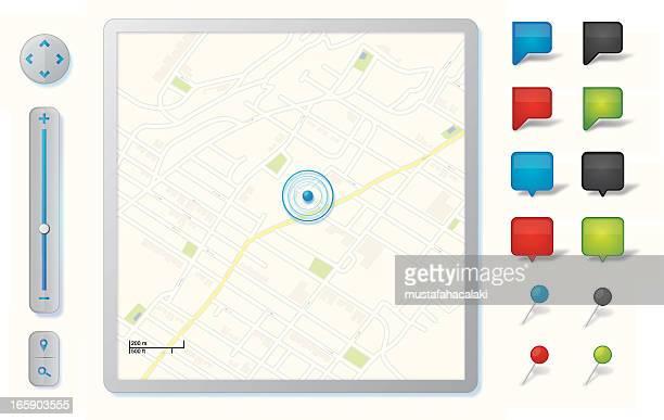 ilustrações, clipart, desenhos animados e ícones de ícones de navegação gps - mapa de rua