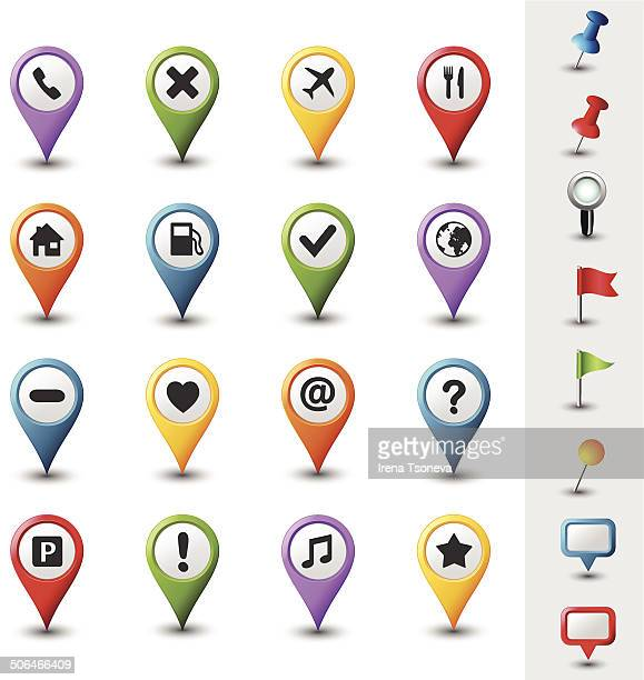 navigation icons - distance marker stock illustrations