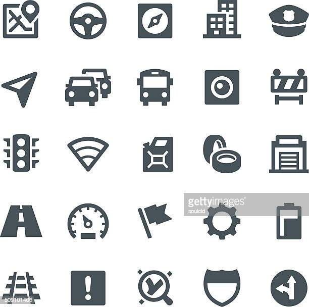 gps navigation icons - traffic stock illustrations