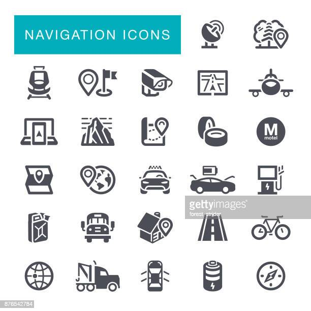 navigation icons - electric vehicle charging station stock illustrations