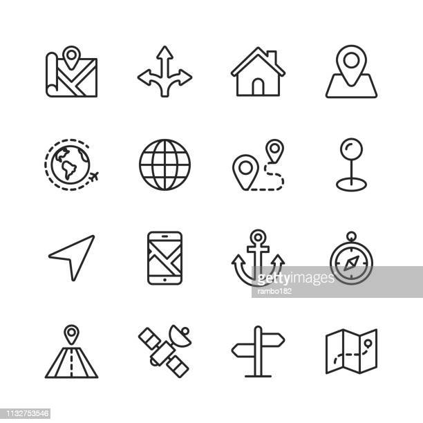 navigation line icons. editable stroke. pixel perfect. for mobile and web. contains such icons as direction, map, gps, road, satellite. - directional sign stock illustrations