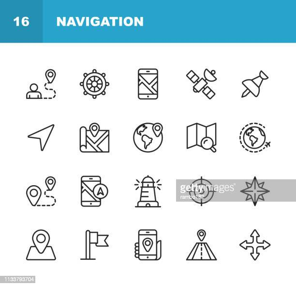 navigation line icons. editable stroke. pixel perfect. for mobile and web. contains such icons as . - cartography stock illustrations