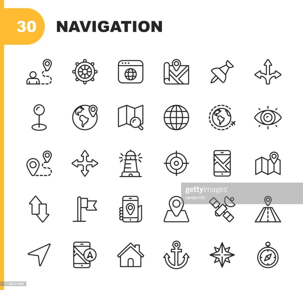 Navigation Line Icons. Editable Stroke. Pixel Perfect. For Mobile and Web. Contains such icons as Placeholder, Compass Rose, Map, Direction, Navigation Target. : stock illustration