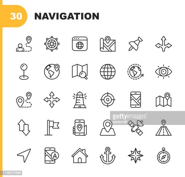 navigation line icons. editable stroke. pixel perfect. for mobile and web. contains such icons as placeholder, compass rose, map, direction, navigation target. - cartography stock illustrations
