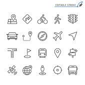 Navigation line icons. Editable stroke. Pixel perfect.
