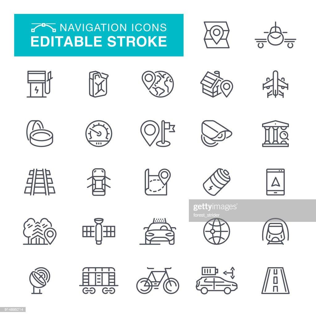 Navigation Line Icons Editable Stroke