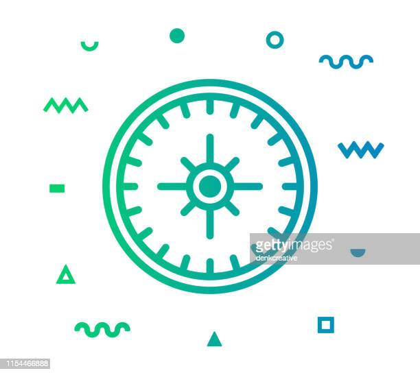 navigation line style icon design - west direction stock illustrations