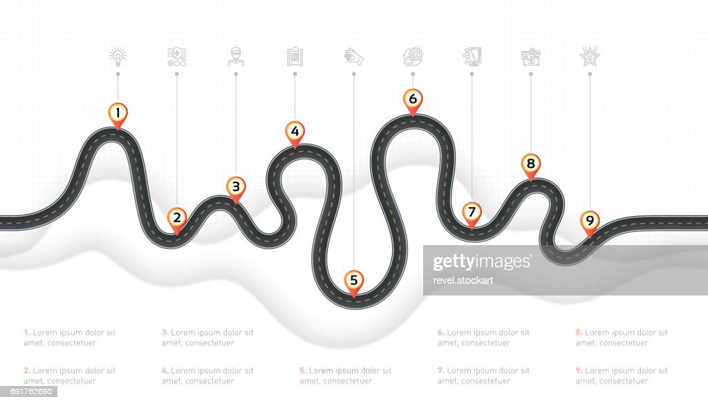 Navigation map infographic 9 steps timeline concept. Winding road
