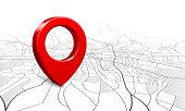 Navigation map. Street 3d location pin locator, pins pointer navigator maps and locations marker vector illustration