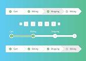 Navigation menu in flat style. Step by step.