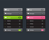Navigation Menu. Vertical vector menu. UI element