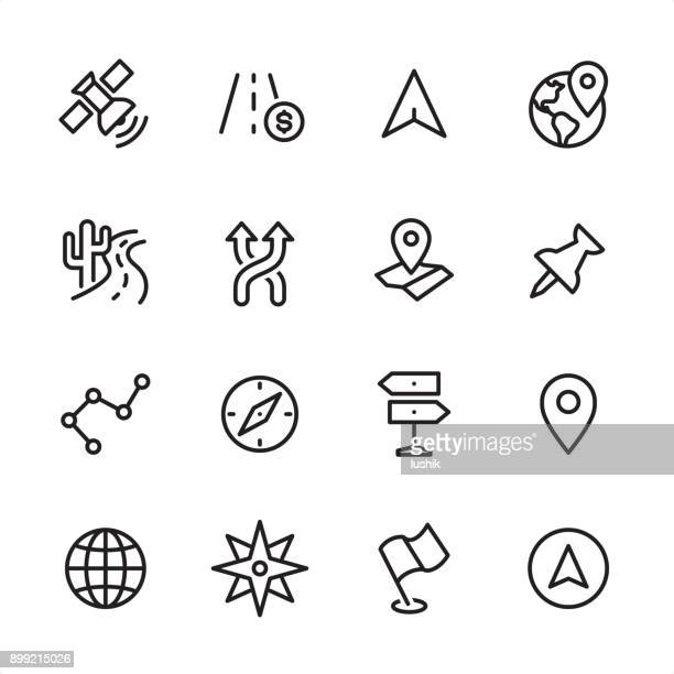 navigation - outline icon set - flag stock illustrations