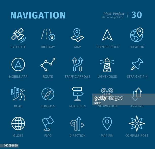 navigation - outline icons with captions - information symbol stock illustrations