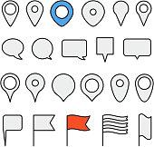 Navigation pins collection. Minimalism illustration