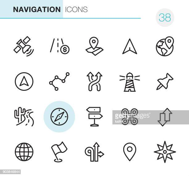 navigation - pixel perfect icons - cartography stock illustrations