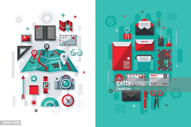 navigation & postal services concept - coordination stock illustrations, clip art, cartoons, & icons