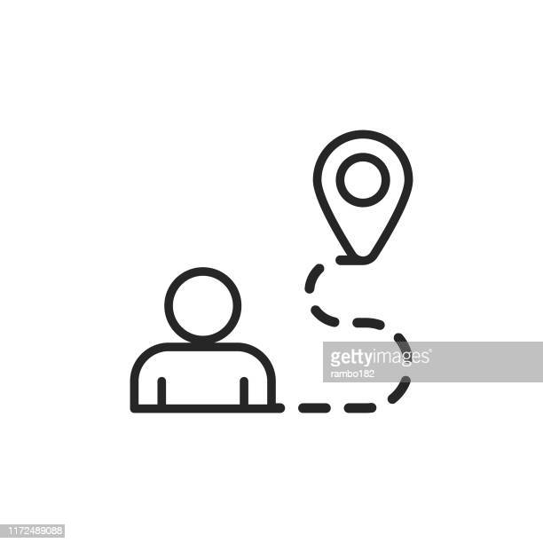 navigation, running line icon. editable stroke. pixel perfect. for mobile and web. - sports track stock illustrations