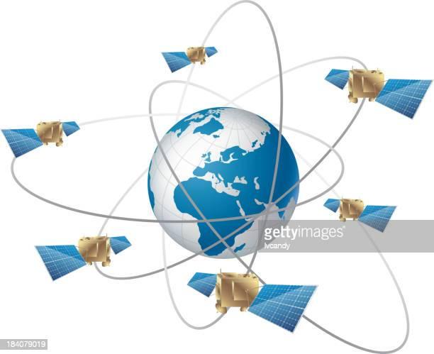 navigation satellite - satellite view stock illustrations