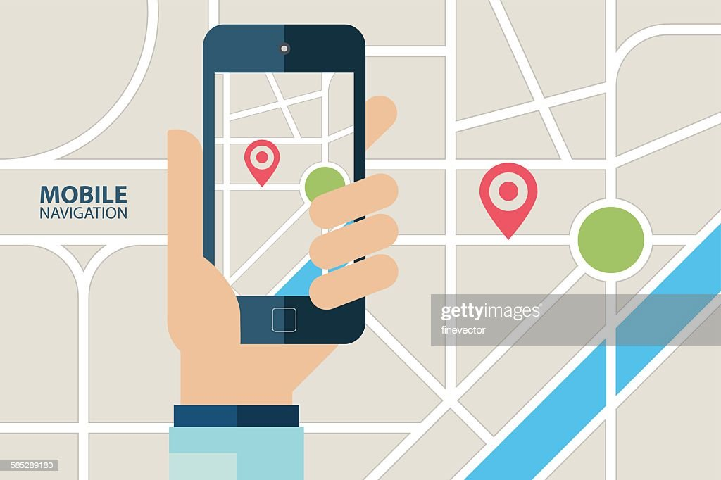 GPS navigation service. Hand holding mobile phone with navigation application.