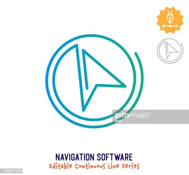 ナビゲーションソフトウェア連続線編集可能ストロークアイコン - 副操縦士点のイラスト素材/クリップアート素材/マンガ素材/アイコン素材